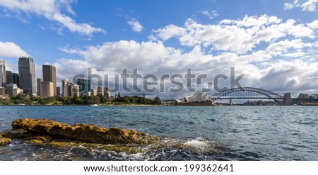 Sydney skyline, opera house and harbor bridge - stock photo