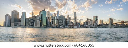 Syline of New York City Manhattan lower Manhattan at sunset time