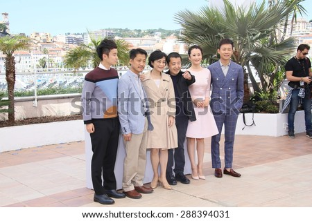 Sylvia Chang, director Jia Zhang Ke, Zhao Tao, Zhang Yi attend a photocall for 'Shan He Gu Ren' ('Mountains May Depart') during the 68th  Cannes Film Festival on May 20, 2015 in Cannes, France. - stock photo