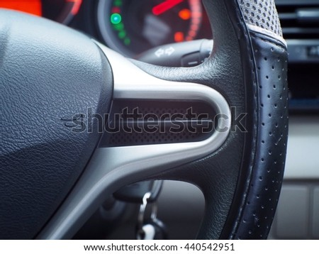Symbol car horn on the steering wheel