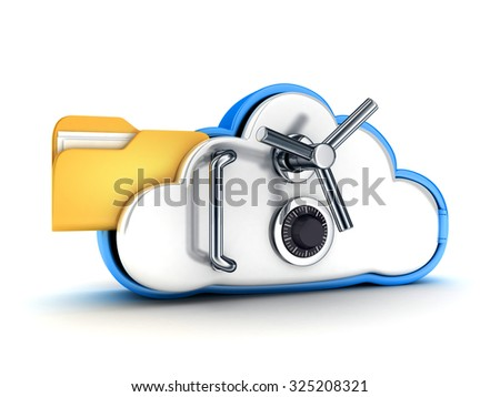 Symbol cloud storage protect on white background (done in 3d) - stock photo