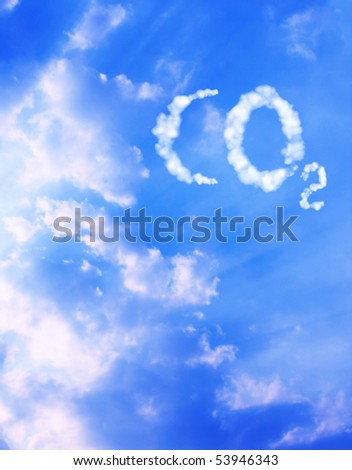 Symbol CO2 from clouds - stock photo