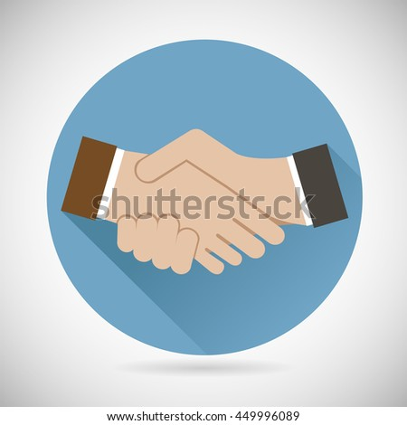 Symbol Concept of Successful partnership, Business People Cooperation Agreement, Tteamwork Solution and Handshake of Businessman Icon Flat Design Template on Gray Background Vector Illustration - stock photo