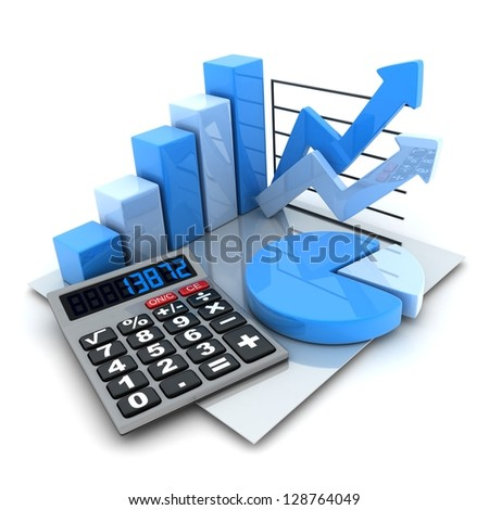 Symbol diagrams (done in 3d, white background) - stock photo