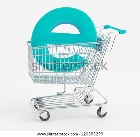 Symbol e-commerce shopping cart - stock photo