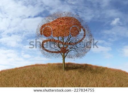 symbol electricity car  on tree - stock photo