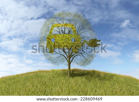 symbol electricity car  on tree - stock photo