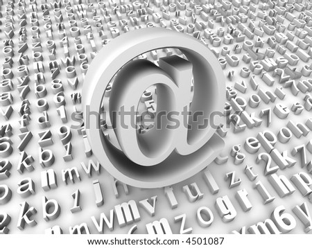 symbol for internet on background from letters. 3d