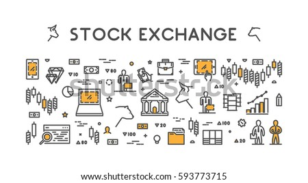 Symbol for stock market and stock exchange. Modern bull and bear icon for Wall Street. Logo for online trading.