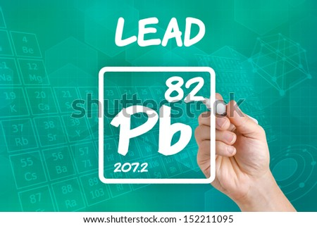 Symbol for the chemical element lead - stock photo