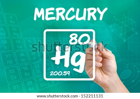 Symbol for the chemical element mercury - stock photo