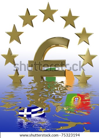 Symbol for the current euro crisis which affects the European Union and the financial markets worldwide. - stock photo