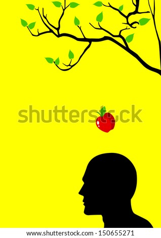 Symbol illustration of an apple falling dawn to the head - stock photo