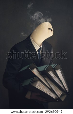 Symbol of a employee with burn out syndrome - stock photo