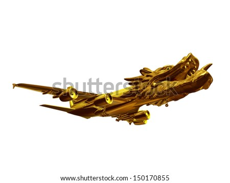 Symbol of a golden plane with dragon head, hissing and spitting fire - stock photo