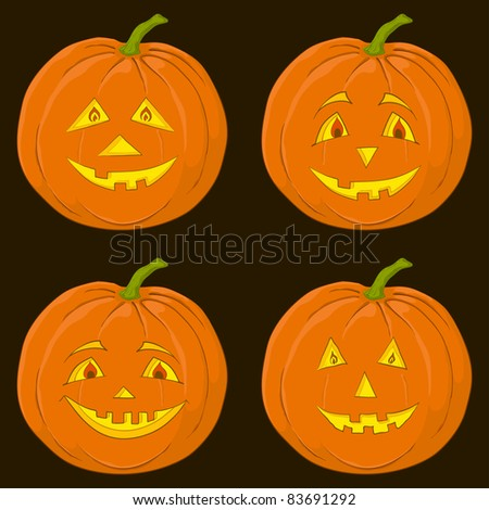 symbol of a holiday of Halloween: a pumpkin Jack O Lantern on black, set - stock photo