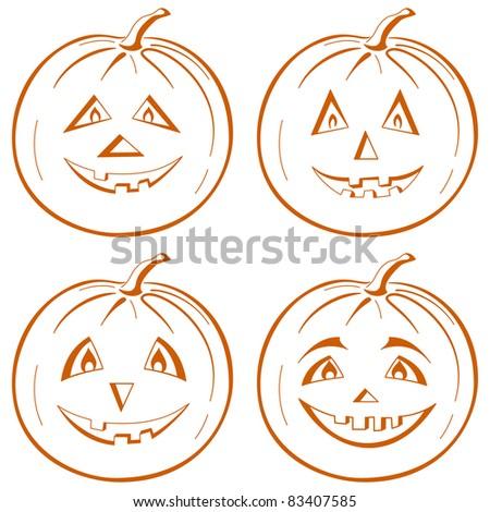 symbol of a holiday of Halloween: a pumpkin Jack O Lantern, set symbolical pictograms on white - stock photo