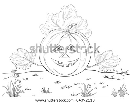 symbol of a holiday of Halloween: a pumpkin Jack O Lantern with hands - the leaves, contours - stock photo