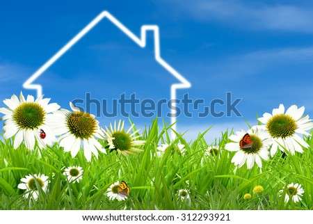 Symbol of a house for construction, eco, ecology, loan, mortgage, property or home - stock photo