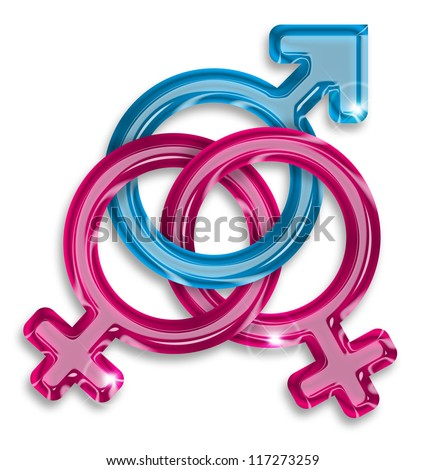 symbol of a love triangle between two women and a man - stock photo