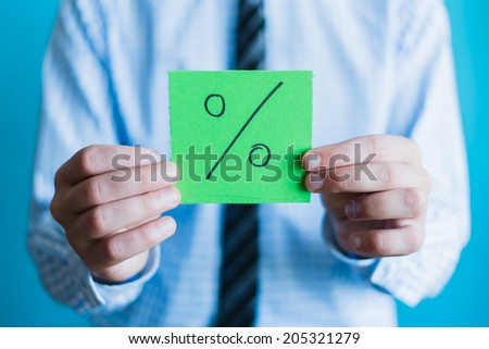 Symbol of a successful business. Image of hands and per cent against the blue sky. Illustration. - stock photo