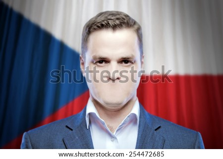 Symbol of censorship and freedom of speech: a young man without a mouth on a background of the national flag of Czech Republic - stock photo