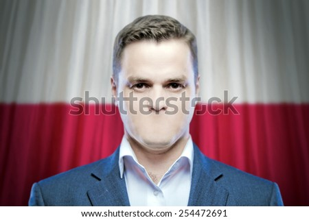 Symbol of censorship and freedom of speech: a young man without a mouth on a background of the national flag of Poland - stock photo