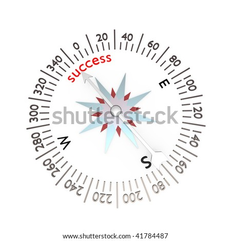Symbol of compass on white background - stock photo