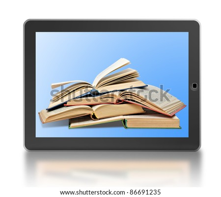 Symbol of digital library and e-reader - stock photo