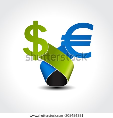 symbol of dollar versus euro - choice currency - stock photo