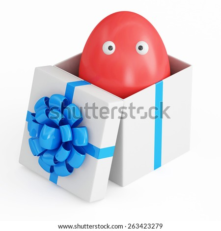 Symbol of Easter holiday concept. Funny red Easter egg with eyes in opened gift box. Happy Easter 3d character isolated on white background - stock photo