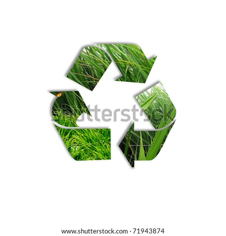 symbol of environment protection and recycling technology - stock photo