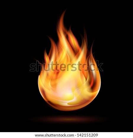 Symbol of fire on dark background. - stock photo