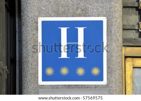 Symbol of four-star rated hotel in Madrid. Spain - stock photo