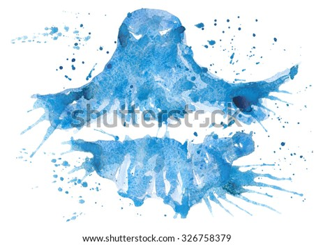 symbol of Halloween stuff - blue translucent ghost , hand- painted watercolor.