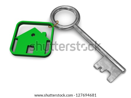 Symbol of house with iron key. White background.
