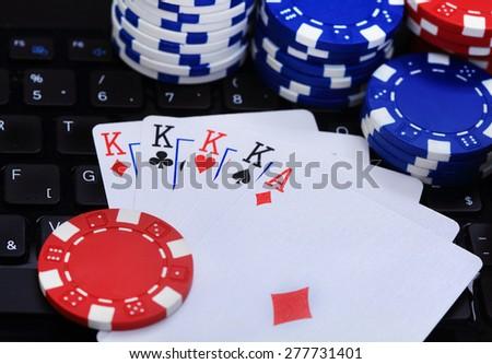 Symbol of internet poker card - stock photo