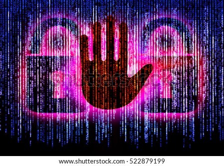 Symbol of internet security with binary character hand and padlock