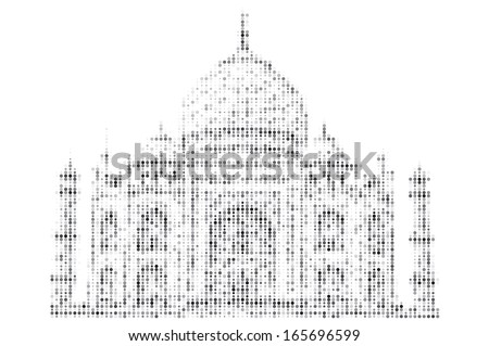 Symbol of Islam. Silhouette of Mosque. Ramadan. Spotted illustration. Building  - stock photo