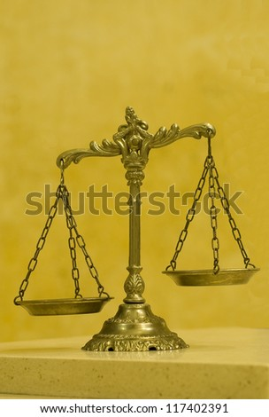 Symbol of law and justice , law and justice concept, yellow tone - stock photo