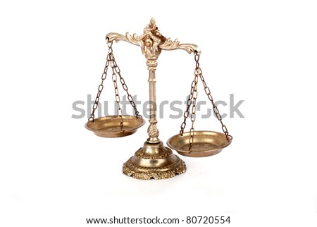 Symbol of law and justice. Scale on white isolated background.Law and justice concept. - stock photo