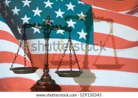 Symbol of law and justice with shadow, United States flag background, law and justice concept