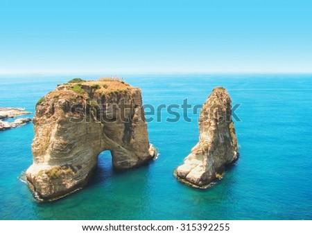 Symbol of Lebanon capital Beirut - Pigeon Rocks, - stock photo