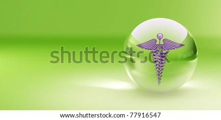 Symbol of medicine in glass sphere. Abstract background. 3d - stock photo