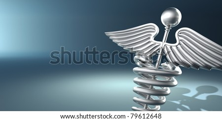 Symbol of medicine on blue background. 3d - stock photo