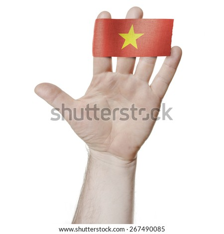 Symbol of national honor: the open palm of the hand with the flag of Vietnam - stock photo
