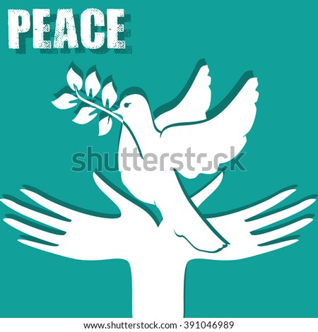 Symbol of peace: the hands and a dove with a sprig. Peace symbol. Peace illustration. Dove with olive tree