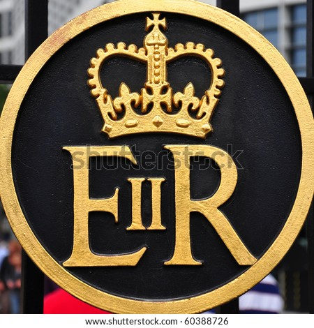 Symbol of Queen Elizabeth II Regina, United Kingdom - stock photo