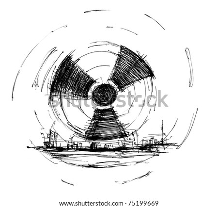 Symbol of radiation drawing ink, skan image - stock photo