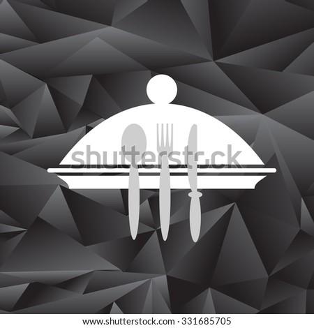Symbol of Restaurant Isolated on Black Polygonal Background. Menu Book Icon Fork, Spoon, Knife, Plate. Cafe Logo Design. Restaurant Menu.  - stock photo